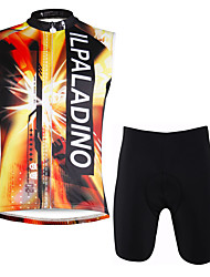 cheap -ILPALADINO Men's Sleeveless Cycling Jersey with Shorts - Orange+White Camouflage Bike Vest/Gilet Padded Shorts/Chamois Clothing Suits,
