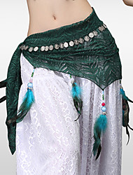 cheap -Belly Dance Hip Scarves Women's Training Lace Sequined Feathers / Fur Lace Silver Coin Tassel Hip Scarf