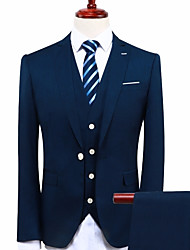 cheap -Navy Blue Standard Fit Polyester Suit - Peaked Lapel Turndown Single Breasted One-button