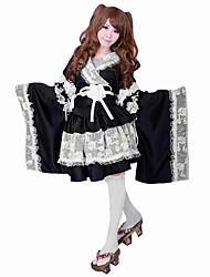 cheap -Outfits Maid Suits Sweet Lolita Lolita Cosplay Lolita Dress Black Patchwork Color Block Long Sleeves Top Dress Armlet Waist Accessory Bow