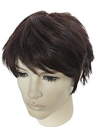 cheap -Synthetic Hair Wigs kinky straight Natural Hairline Asymmetrical Haircut Capless Celebrity Wig Natural Wigs Short Brown