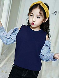 cheap -Girls' Lines / Waves Patchwork Blouse,Cotton Polyester Cotton chambray Spring Fall Long Sleeves Cute Casual White Navy Blue