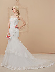 Mermaid / Trumpet Illusion Neckline Court Train Lace Tulle Wedding Dress with Beading Appliques by LAN TING BRIDE®
