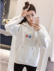 Women's Going out To-Go Hoodie Solid Hooded Stretchy Polyester Long Sleeves Fall/Autumn