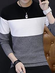 メンズ カジュアル/普段着 レギュラー プルオーバー,カラーブロック ラウンドネック 長袖 コットン 冬 秋 ミディアム マイクロエラスティック