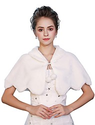 Sleeveless Faux Fur Wedding Party / Evening Women's Wrap With Lace-up Wave-like Ruffle Capelets