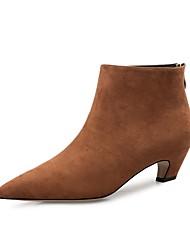 Недорогие -Жен. Обувь Бархатистая отделка Зима Осень Оригинальная обувь Модная обувь Ботинки На низком каблуке Заостренный носок Ботинки для Для