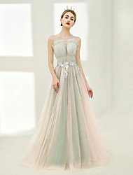 A-Line Jewel Neck Floor Length Tulle Graduation Formal Evening Dress with Laces Beading by SG