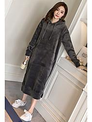 Sweat à capuche Femme Usage quotidien Couleur Pleine Col en V Micro-élastique Polyester Manches Longues Automne