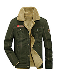cheap -Men's Cotton Jacket - Solid Colored, Fur Trim Shirt Collar