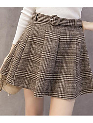 cheap -Women's Daily Mini Skirts A Line Polyester Striped Winter Autumn/Fall