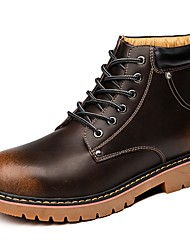 baratos -Homens sapatos Courino Couro Primavera Outono Conforto Botas para Casual Preto Marron Vinho