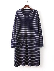 Women's Going out Casual/Daily Simple Cute Street chic Loose Sweater Dress,Striped Round Neck Midi Knee-length Long Sleeves Cotton Others