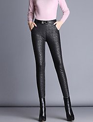 cheap -Women's Skinny Chinos Pants Solid PU Polyester Spandex