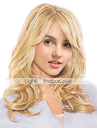cheap -Wavy Machine Made Human Hair Wigs Side Part Long Natural Black Honey Blonde Medium Auburn Beige Blonde//Bleach Blonde