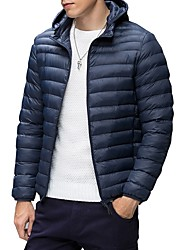 Men's Regular Down Coat,Casual Daily Wear Going out Solid-Down Long Sleeves