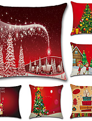 cheap -6 pcs Cotton/Linen Pillow Case Pillow Cover, Christmas Fashion Novelty Euro Traditional/Classic Retro Christmas