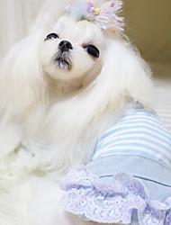baratos -Cachorro Normal Roupas para Cães Riscas Amarelo / Azul / Rosa claro Tecido de Algodão Ocasiões Especiais Para animais de estimação Mulheres Romântico