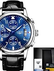 abordables -Hombre Cuarzo Reloj de Pulsera Reloj de Moda Chino Gran venta Piel Cuero Auténtico Banda Encanto Negro