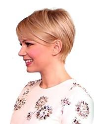 cheap -Women Human Hair Capless Wigs Strawberry Blonde/Light Blonde Medium Auburn/Bleach Blonde Medium Auburn Natural Black Short Straight Side