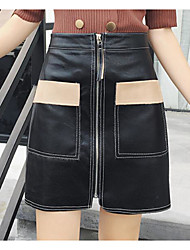 cheap -Women's Going out Knee-length Skirts Pencil Color Block Spring Winter