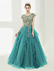Ball Gown Scalloped Floor Length Tulle Prom Formal Evening Dress with Laces Beading by SG