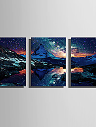 cheap -E-HOME® Stretched LED Canvas Print Art The Snow Capped Mountains LED Flashing Optical Fiber Print Set of 3