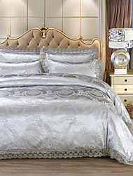 cheap -Duvet Cover Sets Luxury 4 Piece Faux Silk Jacquard Faux Silk 4pcs (1 Duvet Cover, 1 Flat Sheet, 2 Shams)