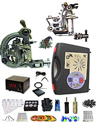 cheap -Tattoo Machine Professional Tattoo Kit 1 steel machine liner & shader 1 alloy machine liner & shader High Quality 2 x aluminum grip 20