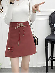cheap -Women's Daily Mini Skirts A Line Solid Fall