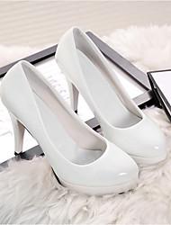 preiswerte -Damen Schuhe PU Frühling Herbst Komfort High Heels Für Normal Weiß Schwarz Rot Mandelfarben