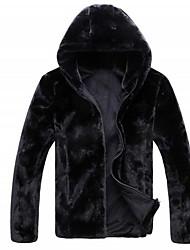 preiswerte -Herren Solide Street Schick Ausgehen Lässig/Alltäglich Jacke,Mit Kapuze Herbst Winter Langarm Standard Polyester