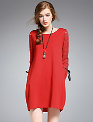 Women's Going out Tunic Dress,Solid Embroidered Round Neck Above Knee Long Sleeves Polyester Mid Rise Micro-elastic Medium