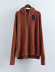 Women's Casual/Daily Work Simple Street chic Regular Pullover,Solid Hooded Long Sleeves Cotton Others Spring Fall Medium Thick Stretchy
