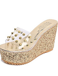 cheap -Women's Shoes Rubber Spring Fall Basic Pump Heels For Casual Silver Gold