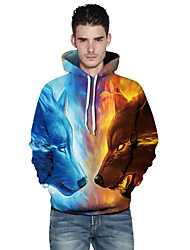 cheap -Men's Plus Size Sports Outdoor Daily Active Hoodie 3D Print Hooded Hoodies Inelastic Polyester Long Sleeves Fall