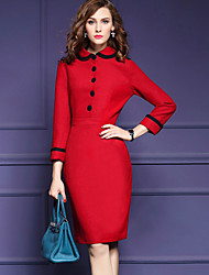 cheap -Women's Going out Plus Size Casual Active Street chic A Line Bodycon Sheath Dress,Color Block Shirt Collar Midi Knee-length Long Sleeves