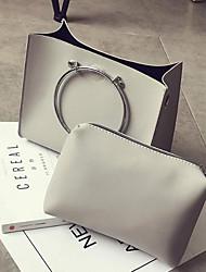 preiswerte -Damen Taschen PU Bag Set 2 Stück Geldbörse Set Reißverschluss für Normal Ganzjährig Schwarz Grau