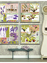 cheap -Floral/Botanical Vintage Illustration Wall Art,PVC Material With Frame For Home Decoration Frame Art Living Room Kitchen Dining Room