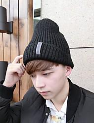 Для мужчин Для офиса На каждый день Широкополая шляпа,Зима Вязанная Однотонный Стильные Черный Серый
