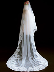 cheap -One-tier Cut Edge Modern Wedding Veil Blusher Veils Cathedral Veils Headpiece 53 Appliques Lace Lace Tulle