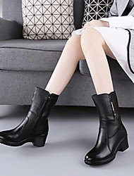 cheap -Women's Shoes Real Leather Fall Winter Fluff Lining Fashion Boots Boots Mid-Calf Boots For Casual Black