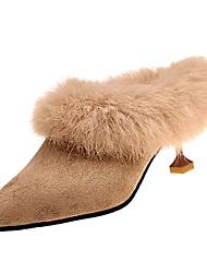 abordables -Femme Chaussures Cachemire Hiver Confort Sabot & Mules Bout rond Pour Décontracté Noir Marron Noir/blanc Kaki
