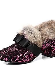 Недорогие -Жен. Обувь Материал на заказ клиента Весна / Осень Удобная обувь Обувь на каблуках На толстом каблуке Квадратный носок Бант Черный /