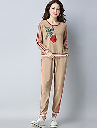 Women's Going out To-Go Casual Fall Sweater Pant Suits,Print Round Neck Long Sleeve Polyester