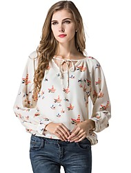 cheap -Women's Daily Wear Work Boho Street chic All Seasons Blouse,Print Vintage V Neck Long Sleeves Polyester