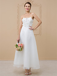 cheap -A-Line Strapless Ankle Length Organza Floral Lace Wedding Dress with Sashes/ Ribbons Flower by LAN TING BRIDE®
