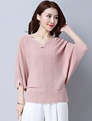 Standard Pullover Da donna-Casual sofisticato Tinta unita A V Manica a 3/4 Cotone Poliestere Medio spessore Elasticizzato