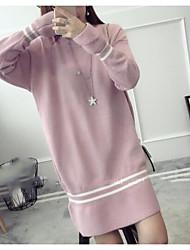 Tricot Robe Femme Décontracté / Quotidien simple,Couleur Pleine Rayé Col Arrondi Au dessus du genou Manches longues Laine Coton Taille