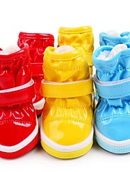 cheap -Cat Dog Boots / Shoes Flats Boots Casual/Daily Waterproof Keep Warm Snow Boots Solid Yellow Red Blue For Pets